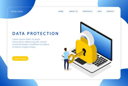 Data protection. Safety. Computer security. Landing page. Modern web pages for web sites.