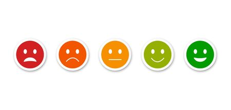 Set of emoticons. Bad and good mood. Feedback. Smiley. Vector icons. Ilustrace