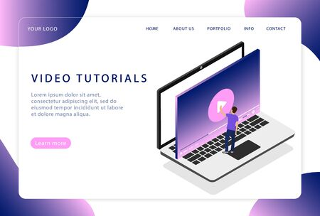 Video tutorials. Online training. Webinar. Landing page. Modern web pages for web sites.