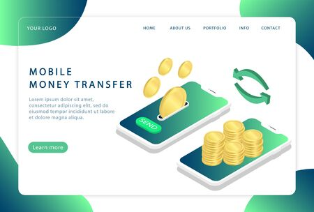 Mobile money transfer. Online transfer. Landing page. Modern web pages for web sites.