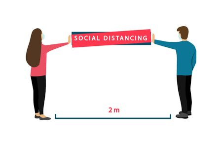 Social distancing 2 m. Coronavirus Prevention. Banner with instructions. Ilustrace