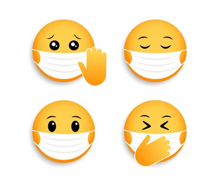 Medical mask emoticons. Vector icon for coronavirus. Smileys for social media chat. Ilustrace