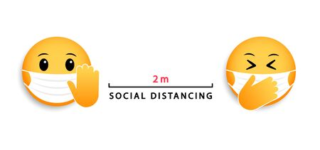 Social distancing 2 m. Medical mask emoticons. Vector icon for coronavirus.