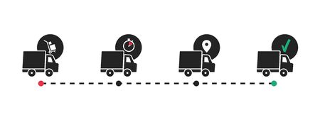 Delivery route. Delivery tracking. Shipping service. Vector icons.