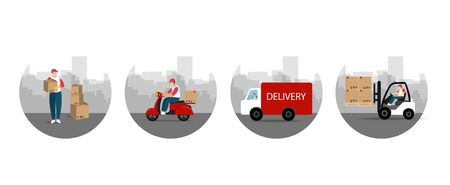 Online delivery tracking. Process delivery. Delivery service. Flat style. Ilustrace