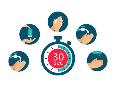 Rules for washing hands. Wash hand with soap. Preventive measures. Flat design. Ilustrace