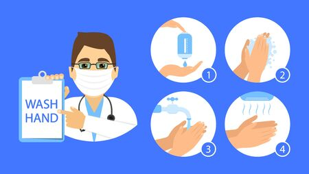 Doctor show how to wash your hands. Steps instructions washing hand. Vector flat style. Ilustrace