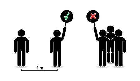 People icons. Social distance. Keep save distancing. Avoid Crowd and group of people. Ilustrace
