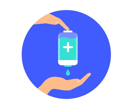 Use sanitizer hand. Antiseptic. Antibacterial disinfectant. Preventive measures. Vector. Ilustrace