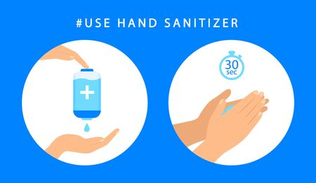How to use sanitizer hand. Step instructions antiseptic hand. Antibacterial. Vector flat style. Ilustrace