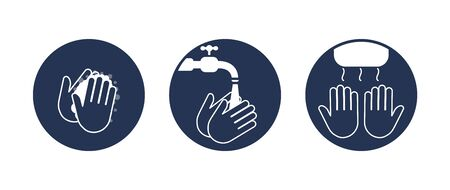 Wash hands. Step instructions washing hand. Vector flat icons.