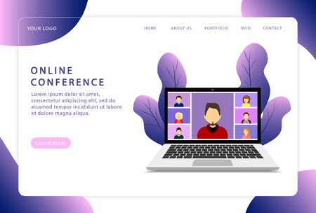 Online conference. Video conference. Landing page. Modern web pages for web sites. Ilustrace
