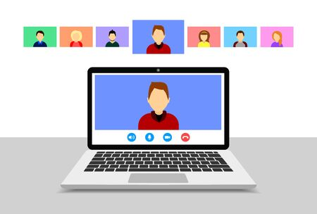 Video conference on laptop. Online meeting. Group video call. Vector flat style.