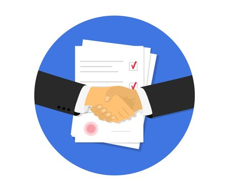 Partnership. Document papers. Agreement and contract with stamp. Vector flat design.