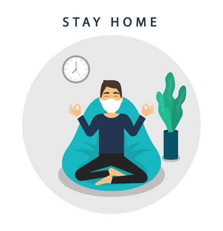 Stay at home banner. Stay safe. Quarantine. Man meditates at home. Coronavirus 2019-nCoV. Vector
