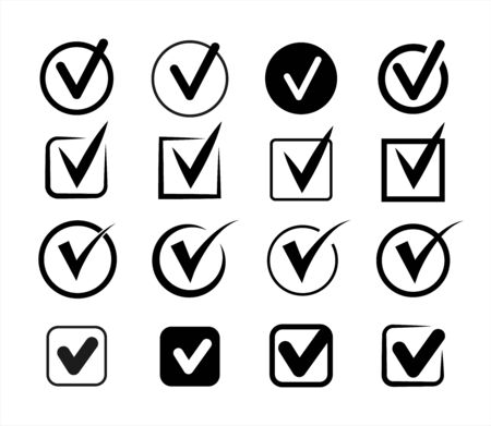 Vector black checkmarks. Set of check mark icons. Approved icons. Ilustrace