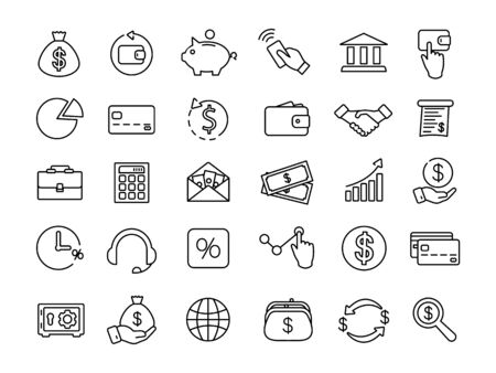 Financial and banking thin line icons. Money icons. Symbols of Economics
