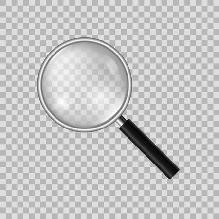 Realistic magnifier on a transparent background. Model of a magnifying glass.