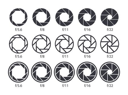 Set of aperture icons. Camera value lens diaphragm and shutter icons. Vector