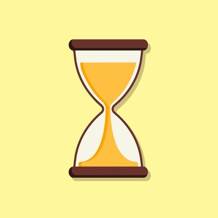 Flat hourglass on yellow background. Clock. Vector illustration Ilustrace