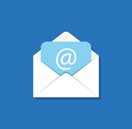 Email flat icon. Open envelope with mail. Vector