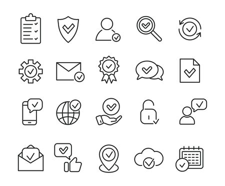 Linear approve icons. Check marks, accepted, verified, certificate. Vector illustration.