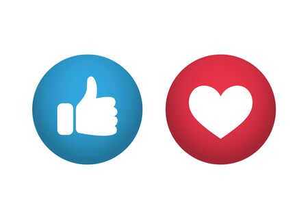 Thumb up and heart. Like vector icon Ilustrace