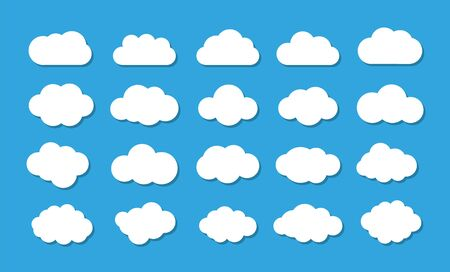 Clouds on the blue sky. Vector icons.