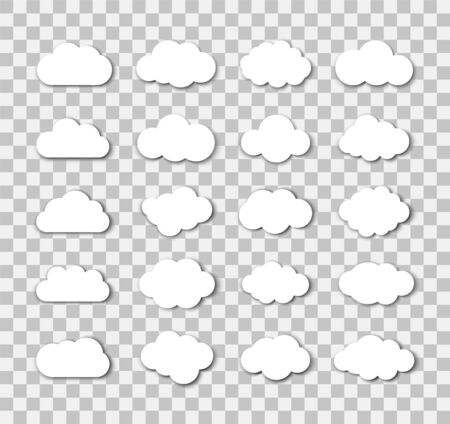 Set of white clouds on the transparent background.