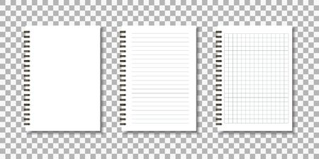 Set of notepad. Notebook sheets. Vector illustration. Ilustrace