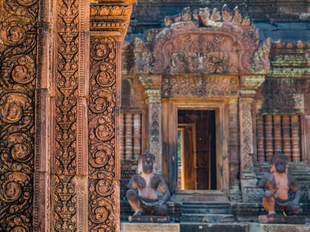 Detail of old building in Siem Reap, Cambodia
