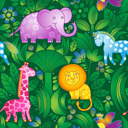 Bright seamless pattern with animals from the jungle  Animals are shown on background of tropical trees and flowers  It can be used for wallpaper, pattern fills, web page background, surface textures  Vector