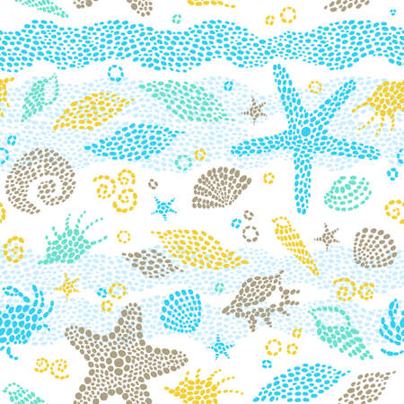 Vector seamless pattern with sea element and seashells  Light marine life background  It can be used for wallpaper, pattern fills, web page background, surface textures