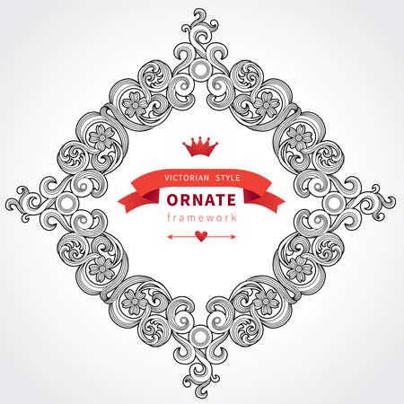 elipse: Vintage marco adornado con lugar para el texto y inconformista insignia decoración floral del Victorian del diseño de la fecha Plantilla para la tarjeta de felicitación de la boda y las invitaciones, la decoración para los bolsos y la ropa