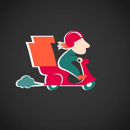 курьер: Забавный доставки пиццы, на красном мотоцикле мультипликационный персонаж в стиле ретро Он может быть использован для украшения приглашений, открыток, меню, украшение для сумок и одежды