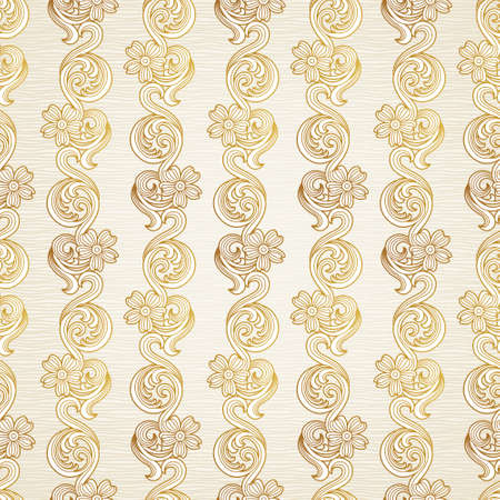 Vector seamless pattern in Victorian style. Element for design. Ornamental backdrop. Golden floral ornament on light background. Ornate decor for wallpaper. Endless texture and deluxe pattern fill. Vector