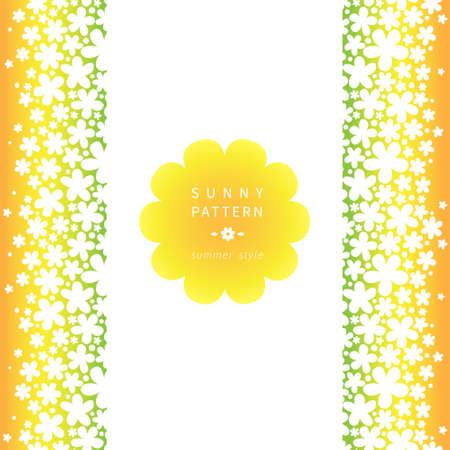 place for text: Blanco frontera floral sin fisuras de fondo brillante. Vector tel�n de fondo con las flores simples. Lugar para el texto. Cinta naranja. Decoraci�n colorido del verano para sus invitaciones de boda y tarjetas de felicitaci�n.