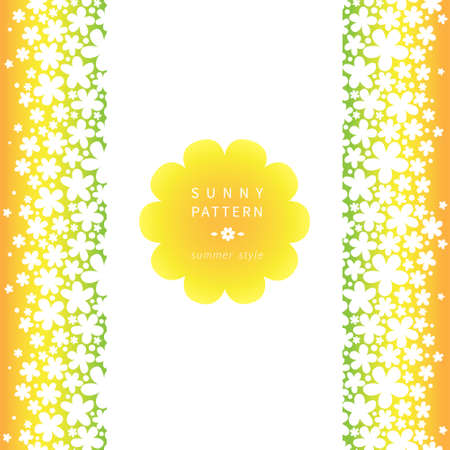 place for text: White floral seamless border on bright background. Vector backdrop with simple flowers. Place for text. Orange ribbon. Colorful summer decor for your wedding invitations and greeting cards.