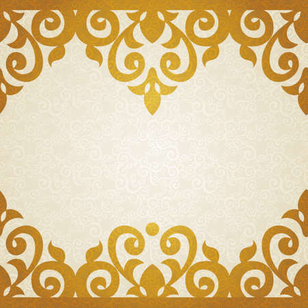 Vector ornate border in Victorian style. Golden floral element for design with place for text. Ornamental pattern for wedding invitations and greeting cards. Traditional golden decor. Vector