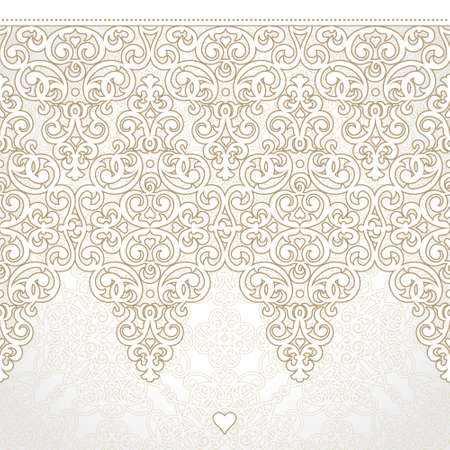 Vector seamless border in Victorian style. Ornate element for design. Place for text. Ornamental pattern for wedding invitations, greeting cards. Traditional decor. Vector