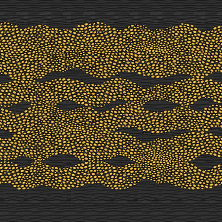 strew: Seamless border with a golden waves from dots. Background similar to ripples on the sea. Ornamental brocade backdrop. Ornate decor for wallpaper. Endless texture. Spotted pattern fill.  Illustration