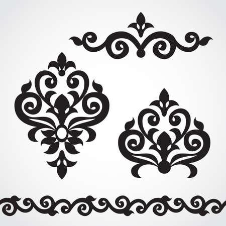 Vector set met klassieke ornament in Victoriaanse stijl. Sierlijke element voor ontwerp. Frames en vignetten voor uw tekst. Patroon voor bruiloft uitnodigingen, wenskaarten. Traditionele bloemen decor. Stock Illustratie