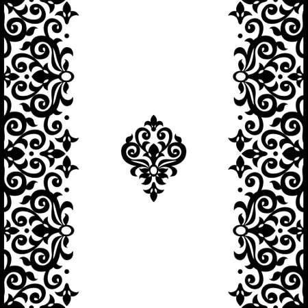 friso: Vector de la frontera transparente en estilo victoriano. Adornado elemento para el diseño y el lugar de texto. Patrón de contraste ornamental para las invitaciones de boda y tarjetas de felicitación. Decoración monocromática tradicional. Vectores