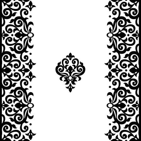 Vector seamless border in Victorian style. Ornate element for design and place for text. Ornamental contrast pattern for wedding invitations and greeting cards. Traditional monochrome decor. Ilustração