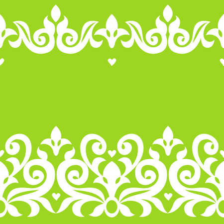 Vector seamless border in Victorian style. Ornate element for design and place for text. Ornamental pattern for wedding invitations and greeting cards. Lace background in bright modern colors. Traditional decor for your ideas. Vector