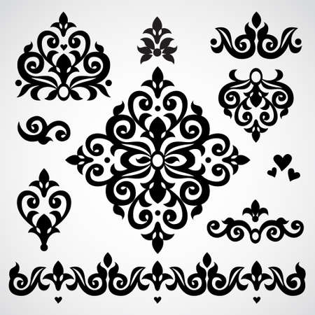 Vector set with classical ornament in Victorian style. Ornate element for design. Frames and vignettes for your text. Pattern for wedding invitations, greeting cards. Traditional floral decor. Illustration