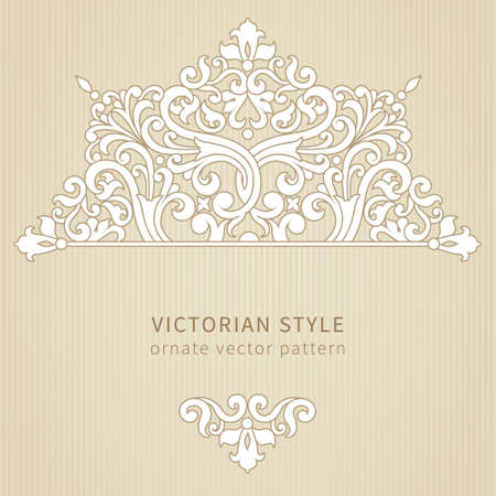 Vintage sierlijke patroon. Florale barok ornament in Victoriaanse stijl. Traditionele ornament en element voor ontwerp. Lacy decor voor wenskaart en trouwkaarten.