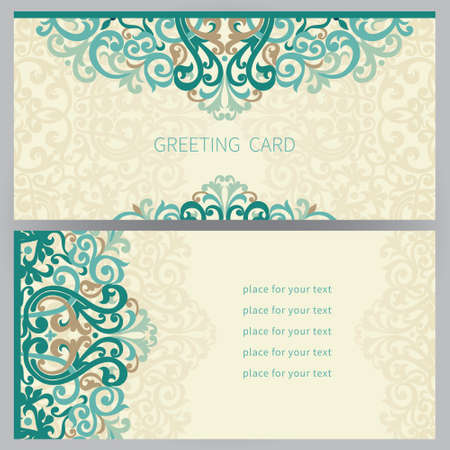 Vintage ornate cards in east style. Colorful Victorian floral decor. Template frame for greeting card and wedding invitation. Ornate vector border and place for your text. Illustration
