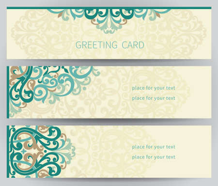 delicate arabic motif: Vintage ornate cards in east style. Colorful Victorian floral decor. Template frame for greeting card and wedding invitation. Ornate vector border and place for your text. Illustration