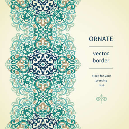Vintage ornate border in east style. Colorful Victorian floral decor. Template frame for greeting card and wedding invitation. Ornate vector frieze and place for your text. Vector